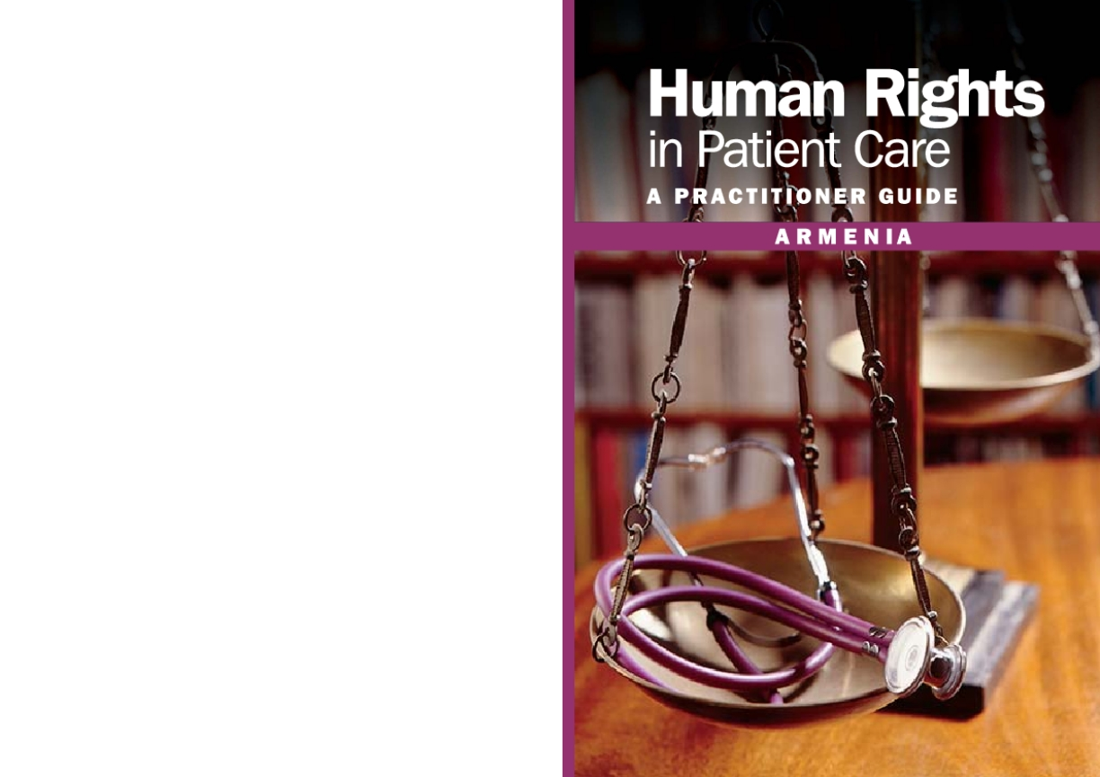 Human Rights in Patient Care: A Practitioner Guide - Armenia