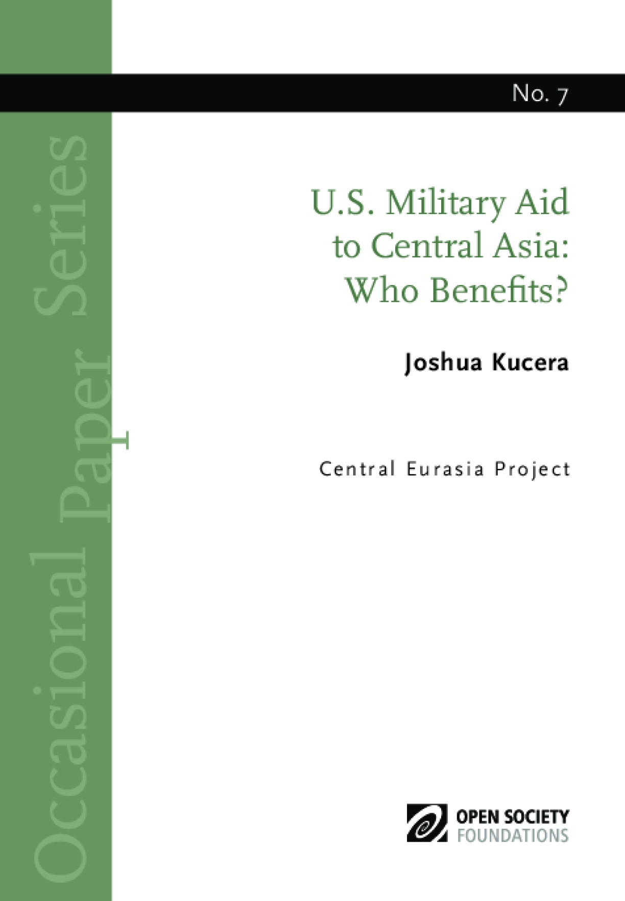 U.S. Military Aid to Central Asia: Who Benefits?