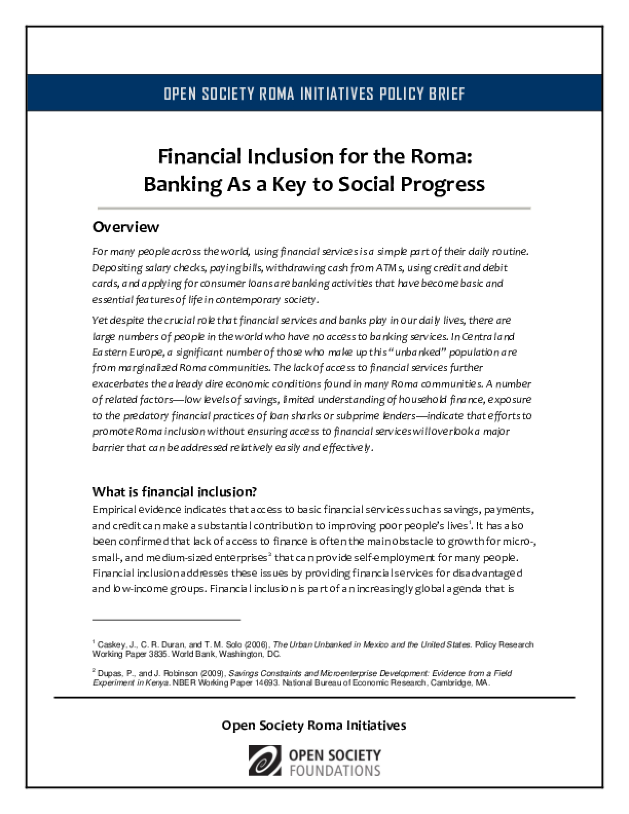 Financial Inclusion for the Roma: Banking As a Key to Social Progress