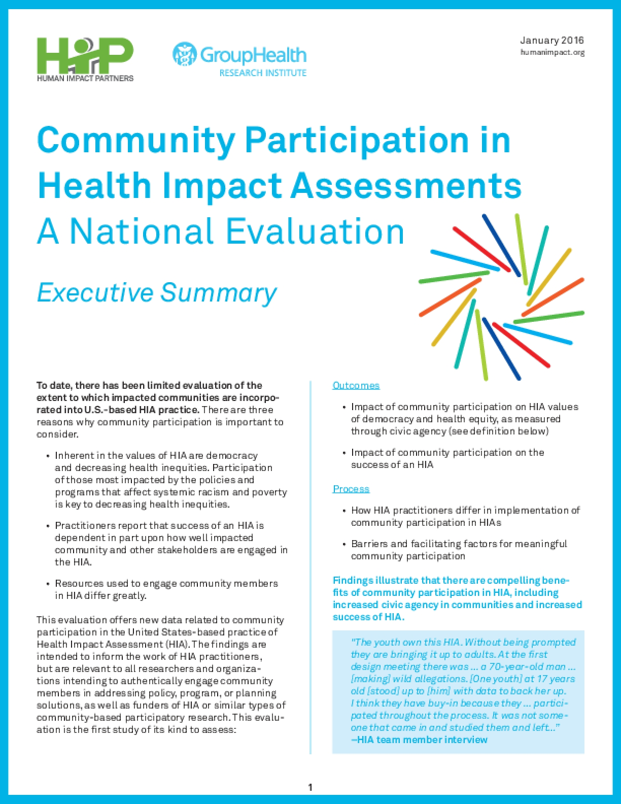 Community Participation in Health Impact Assessments A National Evaluation (Executive Summary)