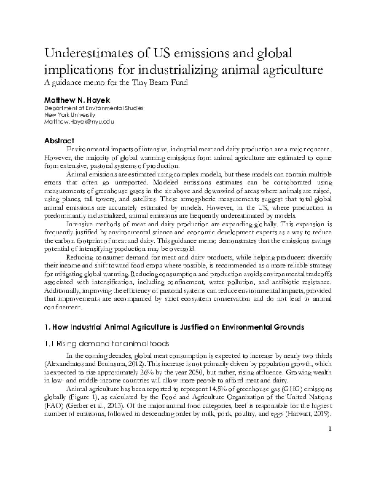 Underestimates of US emissions and global implications for industrializing animal agriculture
