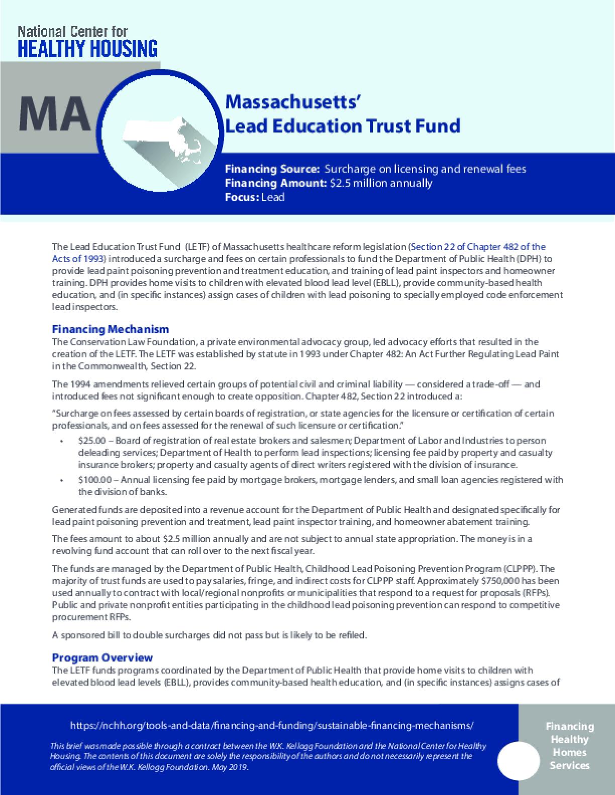 Massachusetts' Lead Education Trust Fund
