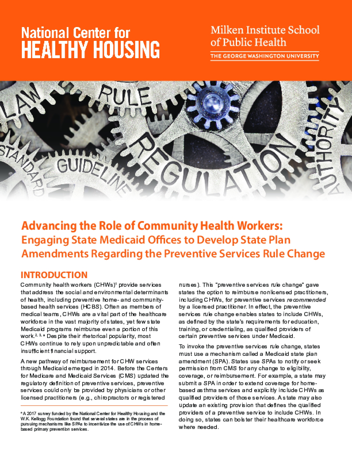 Advancing the Role of Community Health Workers: Engaging State Medicaid Offices to Develop State Plan Amendments Regarding the Preventive Services Rule Change