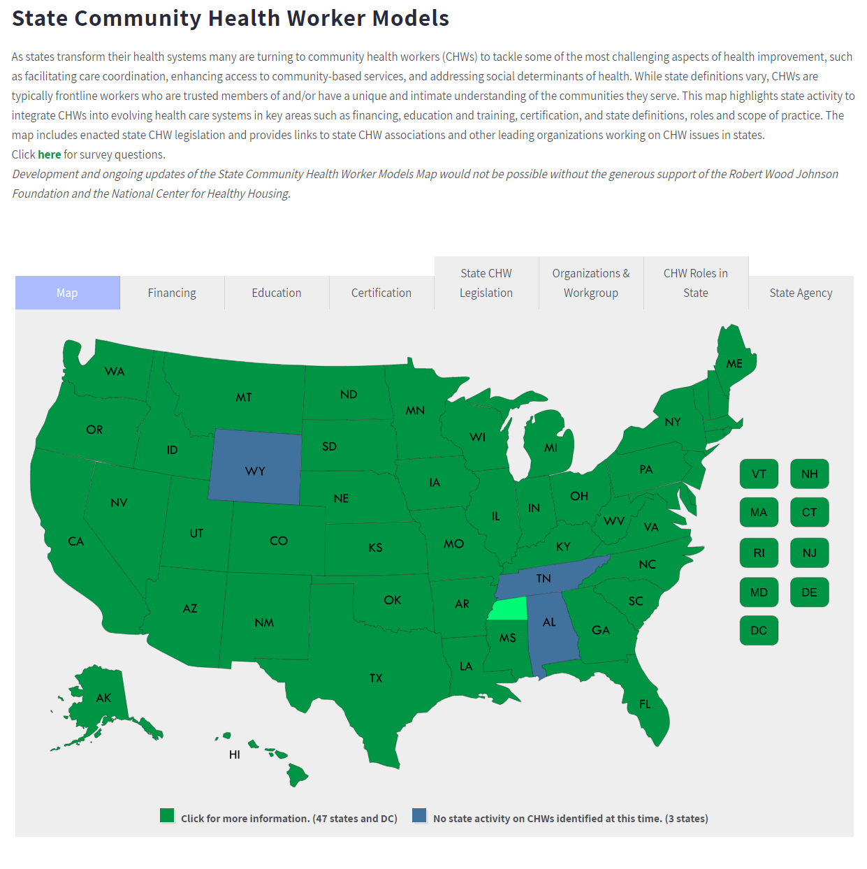 Introduction to the State Community Health Worker Models Map Tool