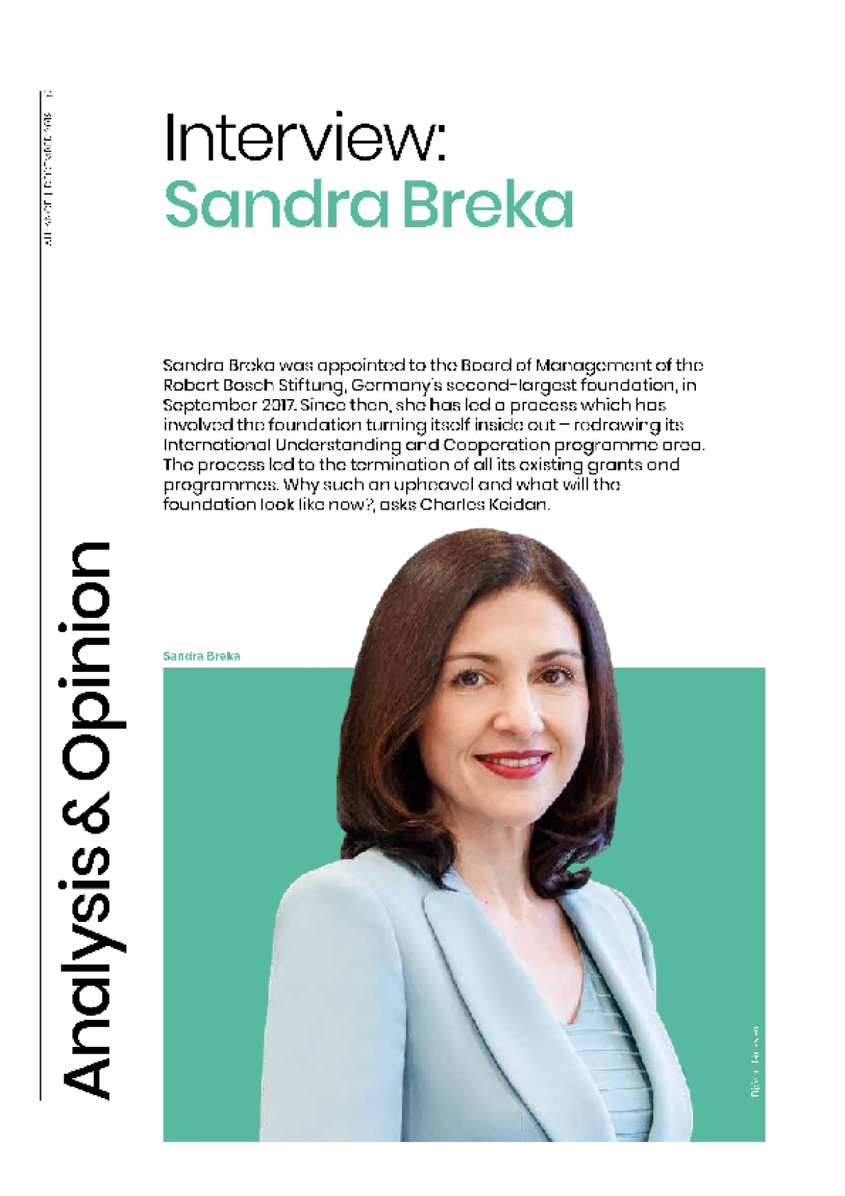 Interview: Sandra Breka - All change at Robert Bosch Foundation