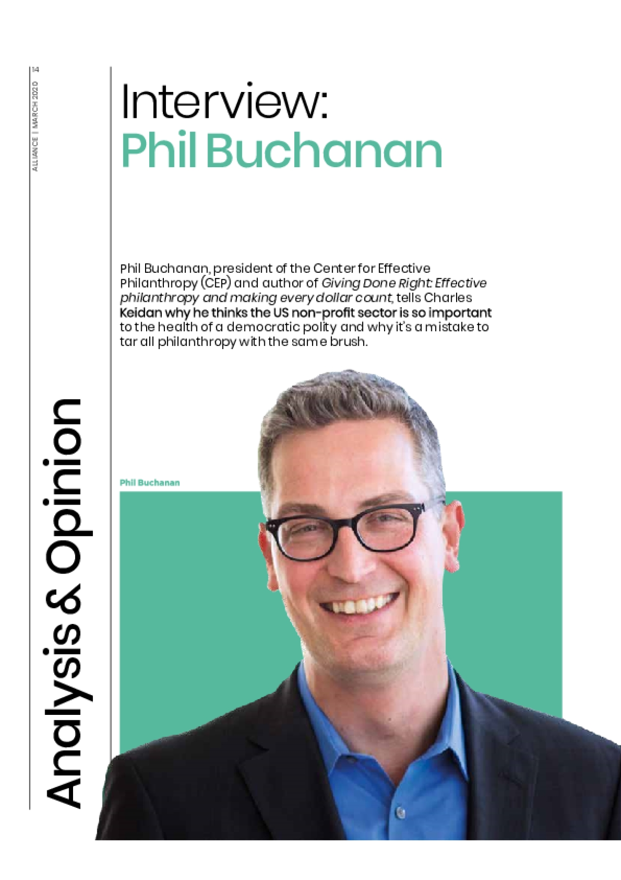 Interview: Phil Buchanan - Non-profits are unsung and undervalued