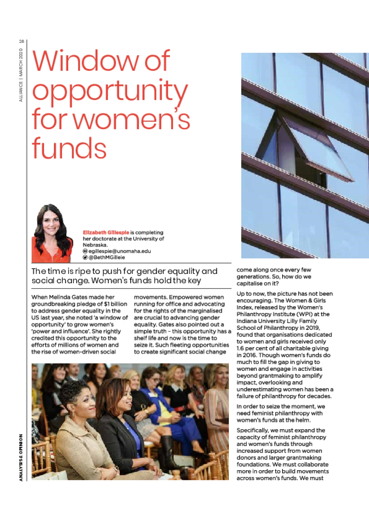 Window of opportunity for women's funds