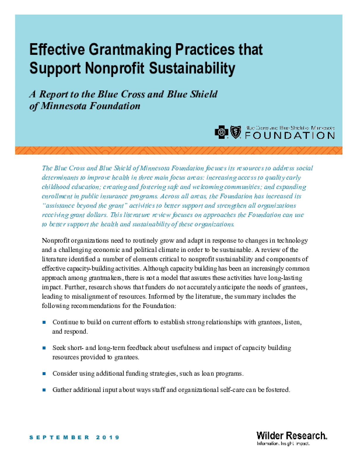 Effective Grantmaking Practices that Support Nonprofit Sustainability
