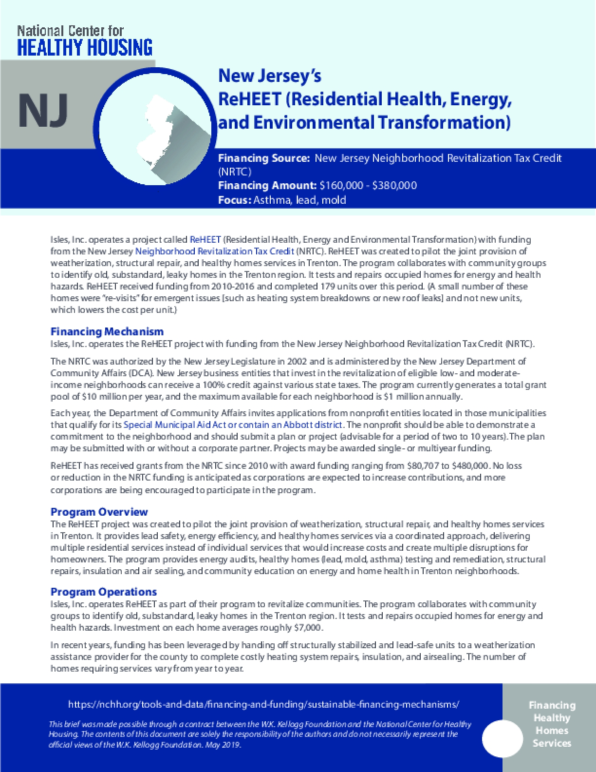 New Jersey's ReHEET (Residential Health, Energy, and Environmental Transformation)