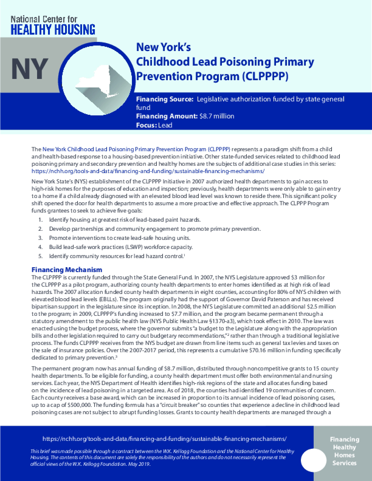New York's Childhood Lead Poisoning Primary Prevention Program (CLPPPP)