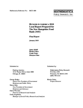 Hunger in America 2010 Local Report Prepared for The New Hampshire Food Bank
