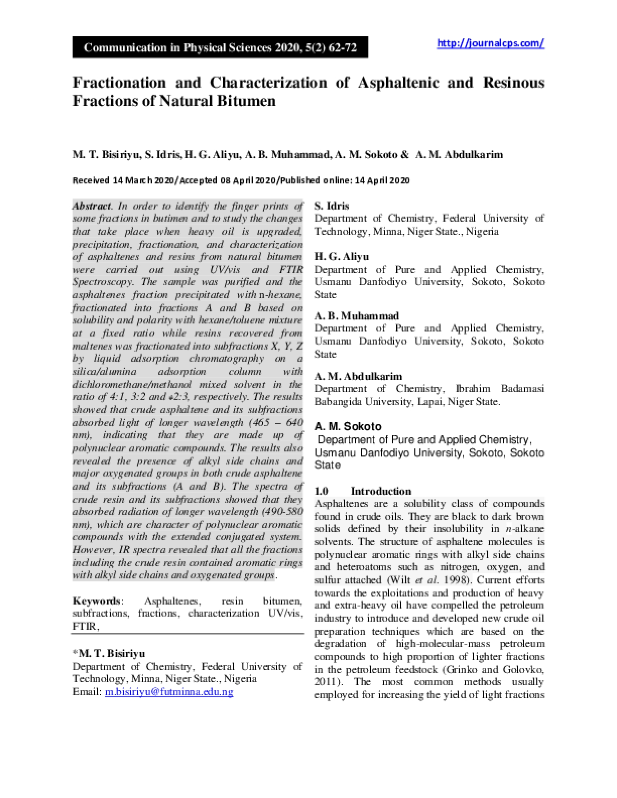Fractionation and Characterization of Asphaltenic and Resinous Fractions of Natural Bitumen
