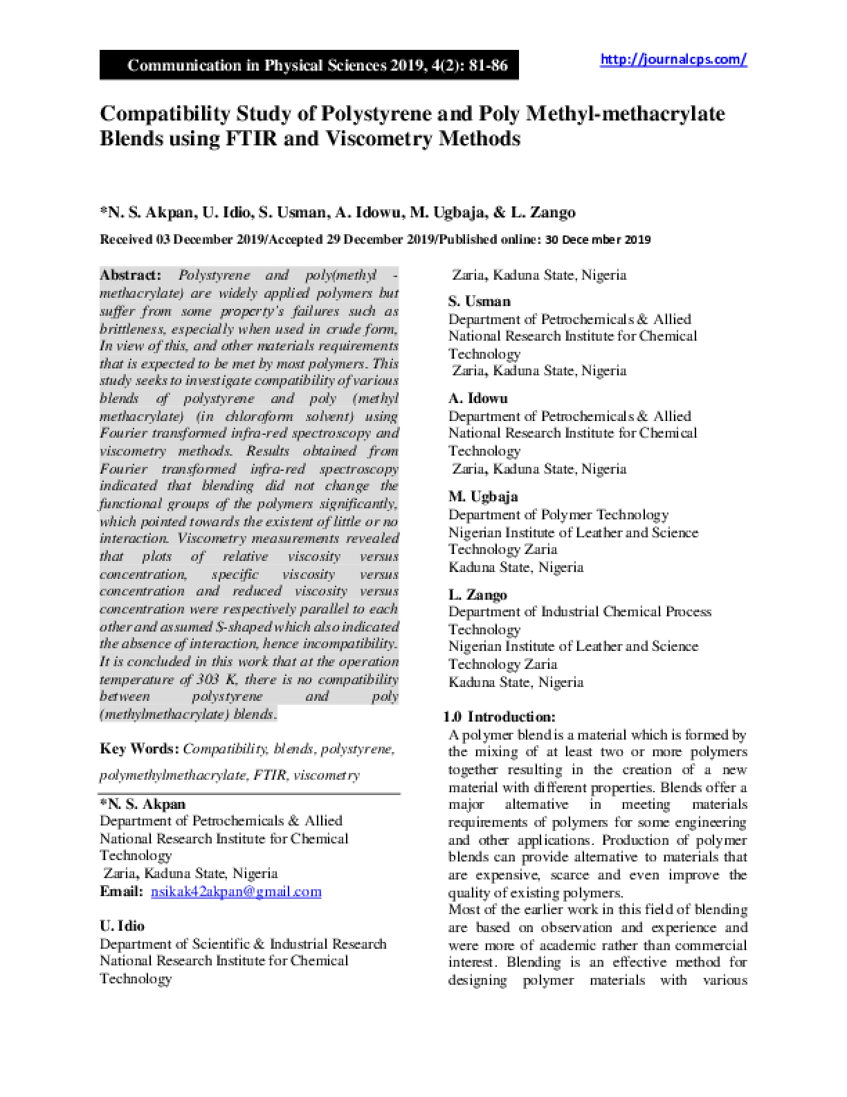 Compatibility Study of Polystyrene and Poly Methyl-methacrylate Blends using FTIR and Viscometry Methods