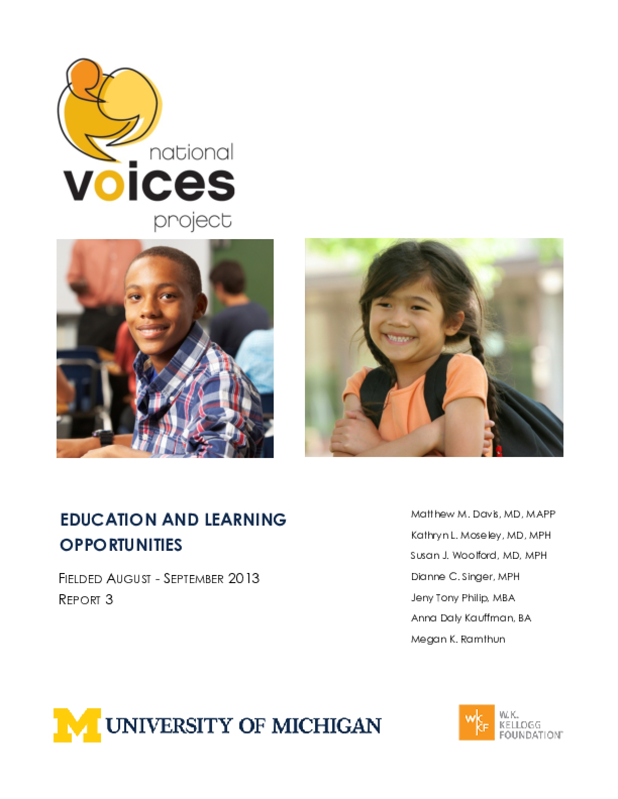 Education and Learning Opportunities (NVP 2013, Report 3)