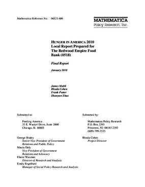 Hunger in America 2010 Local Report Prepared for The Redwood Empire Food Bank