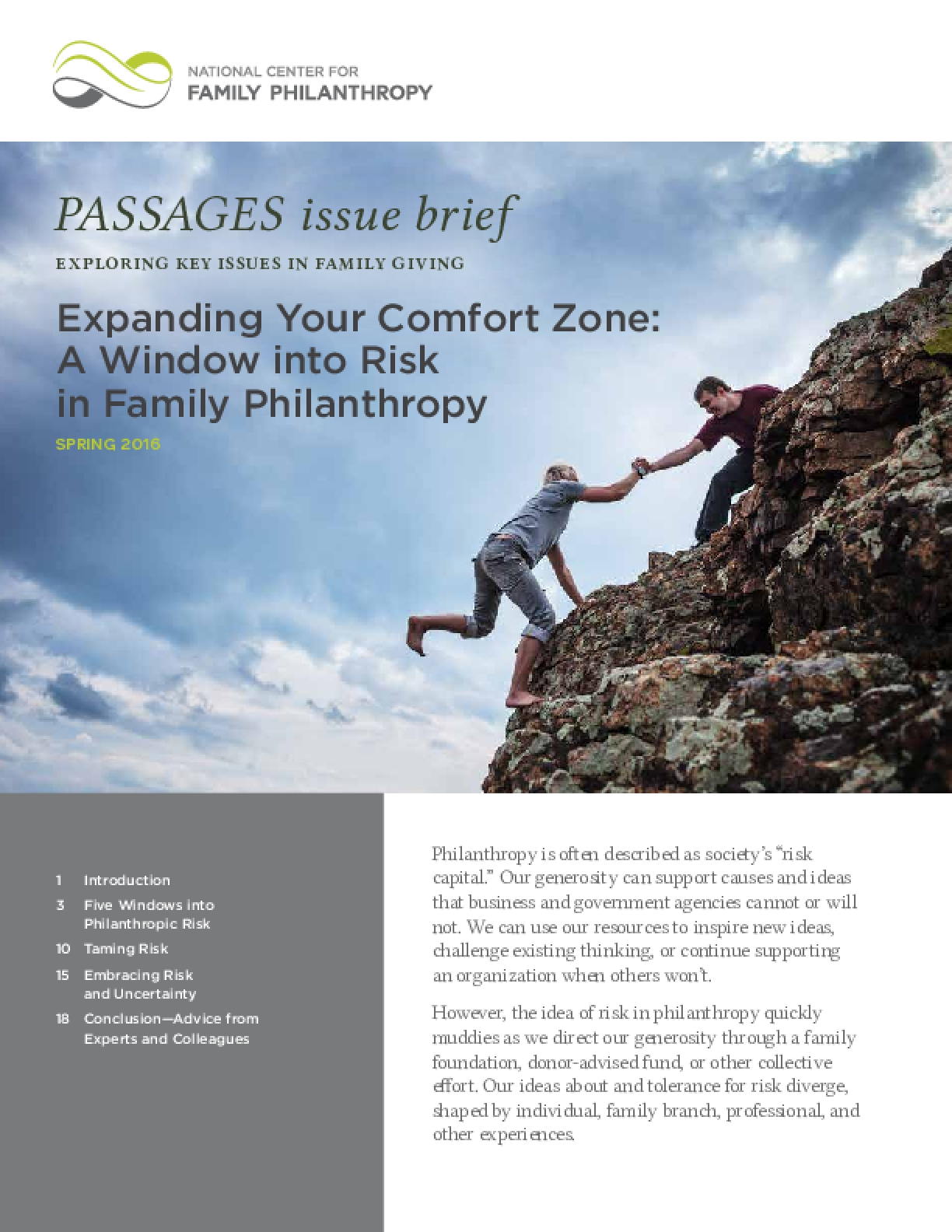 Expanding Your Comfort Zone: A Window into Risk in Family Philanthropy