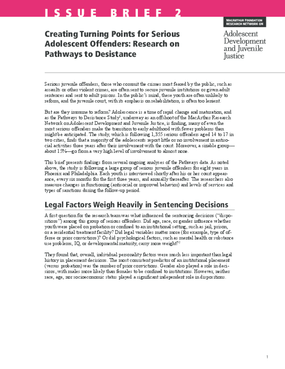 Creating Turning Points for Serious Adolescent Offenders: Research on Pathways to Desistance