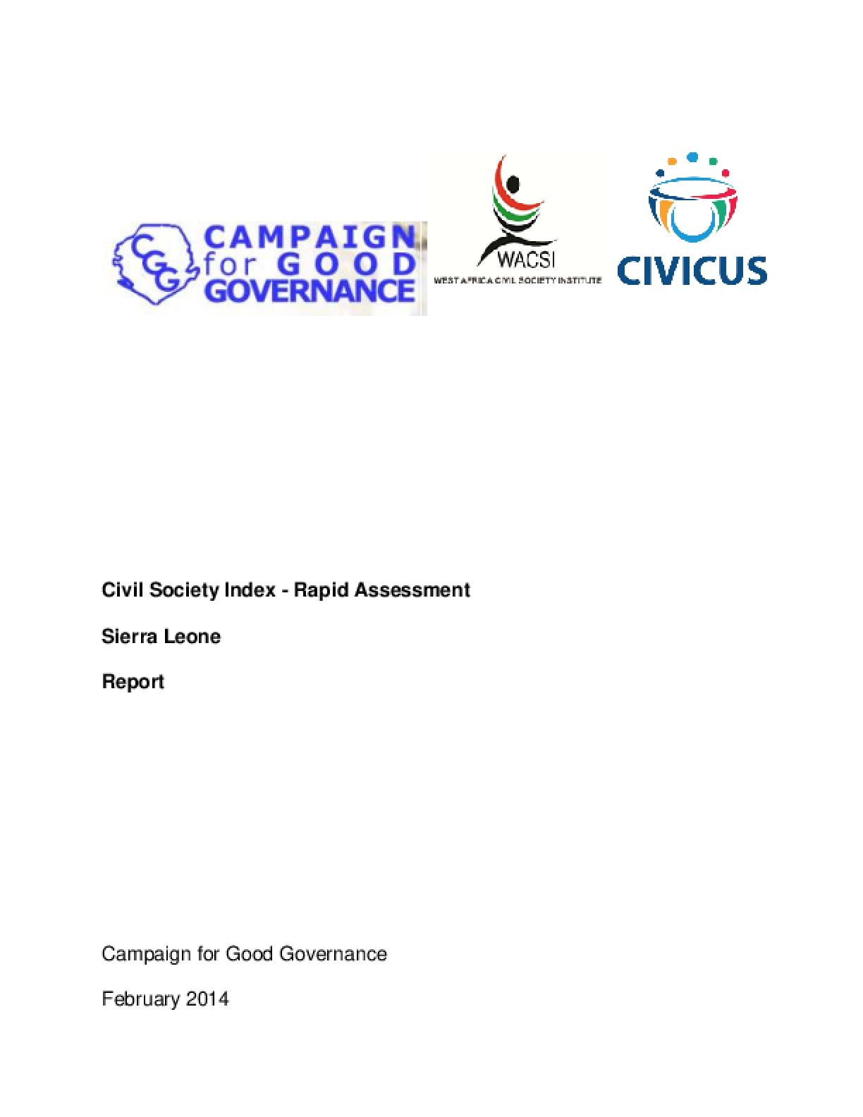 Civil Society Index-Rapid Assessment (CSI-RA): Sierra Leone