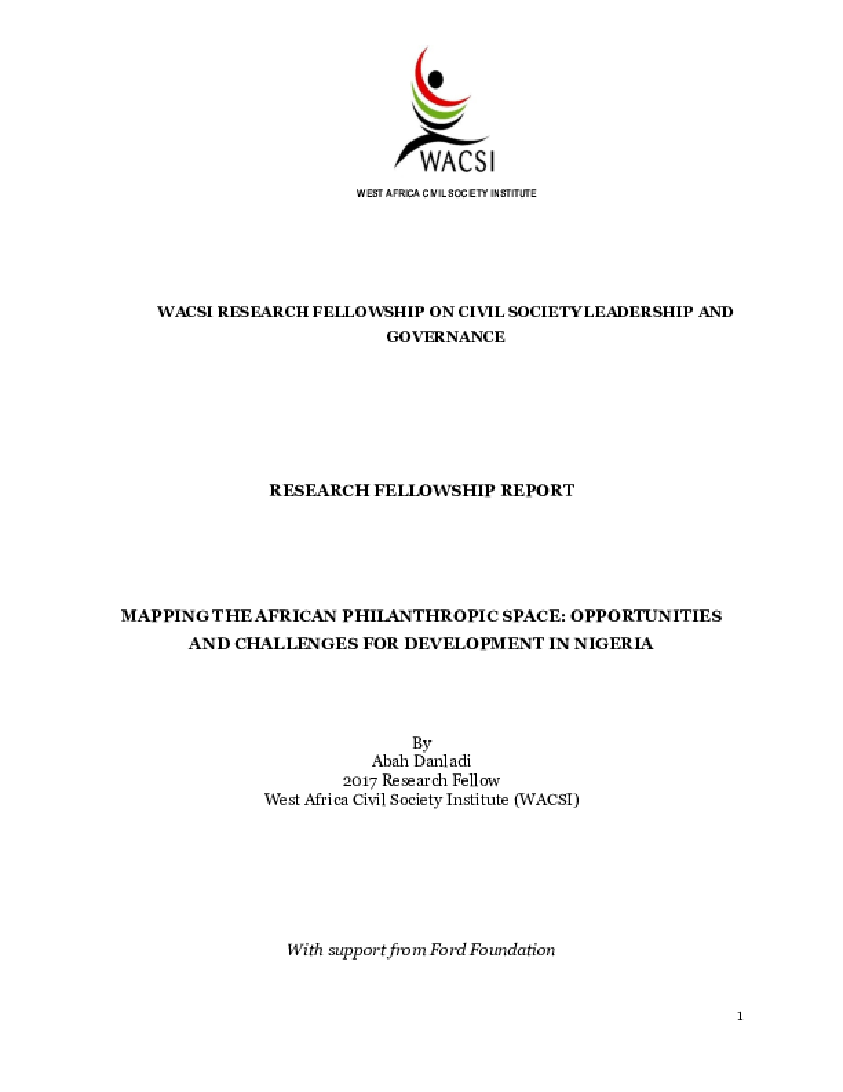 Mapping the African Philanthropic Space: Opportunities and Challenges for Development in Nigeria