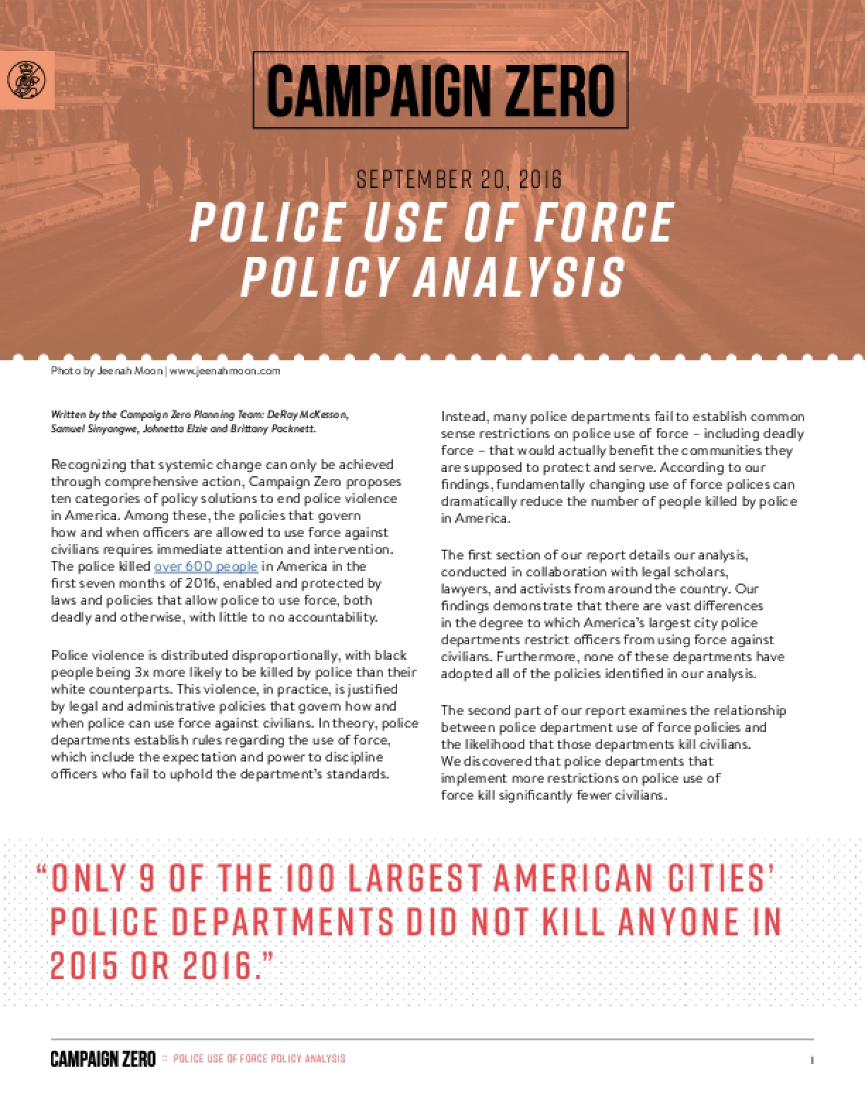 Police Use of Force Policy Analysis