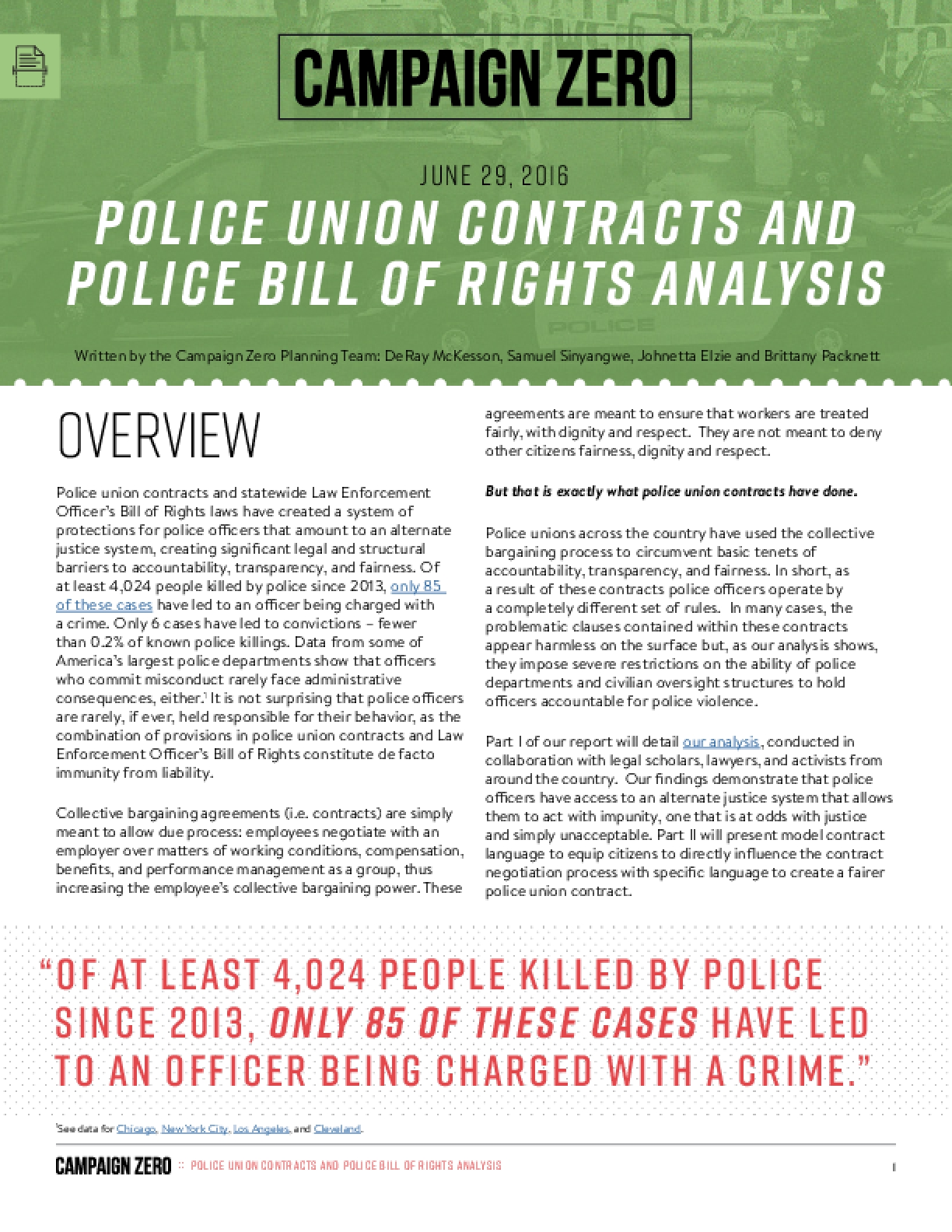 Police Union Contracts and Police Bill of Rights Analysis