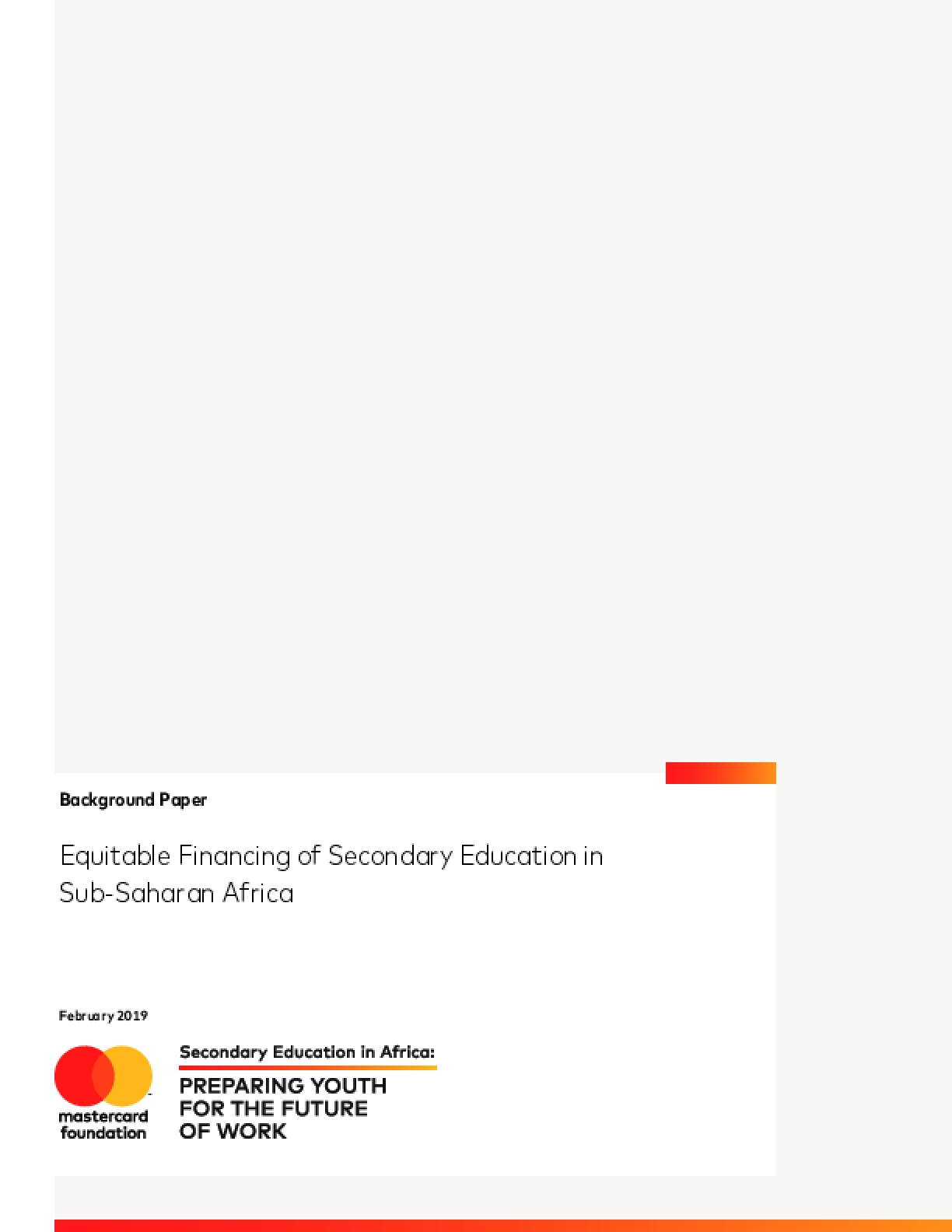 Equitable Financing of Secondary Education in Sub-Saharan Africa