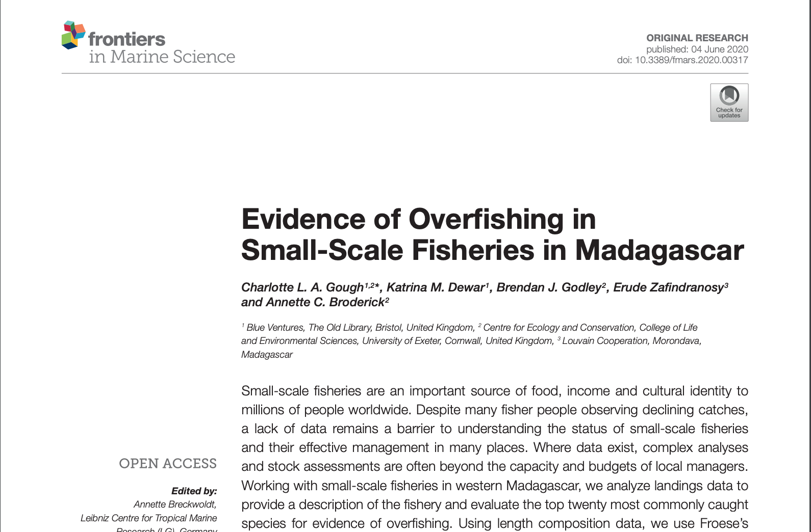 Evidence of Overfishing in Small-Scale Fisheries in Madagascar