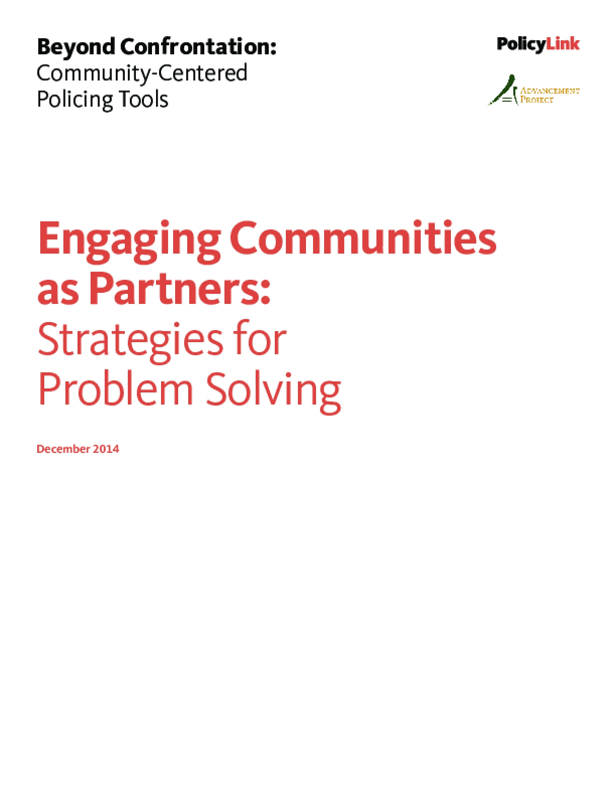 Engaging Communities as Partners: Strategies for Problem Solving
