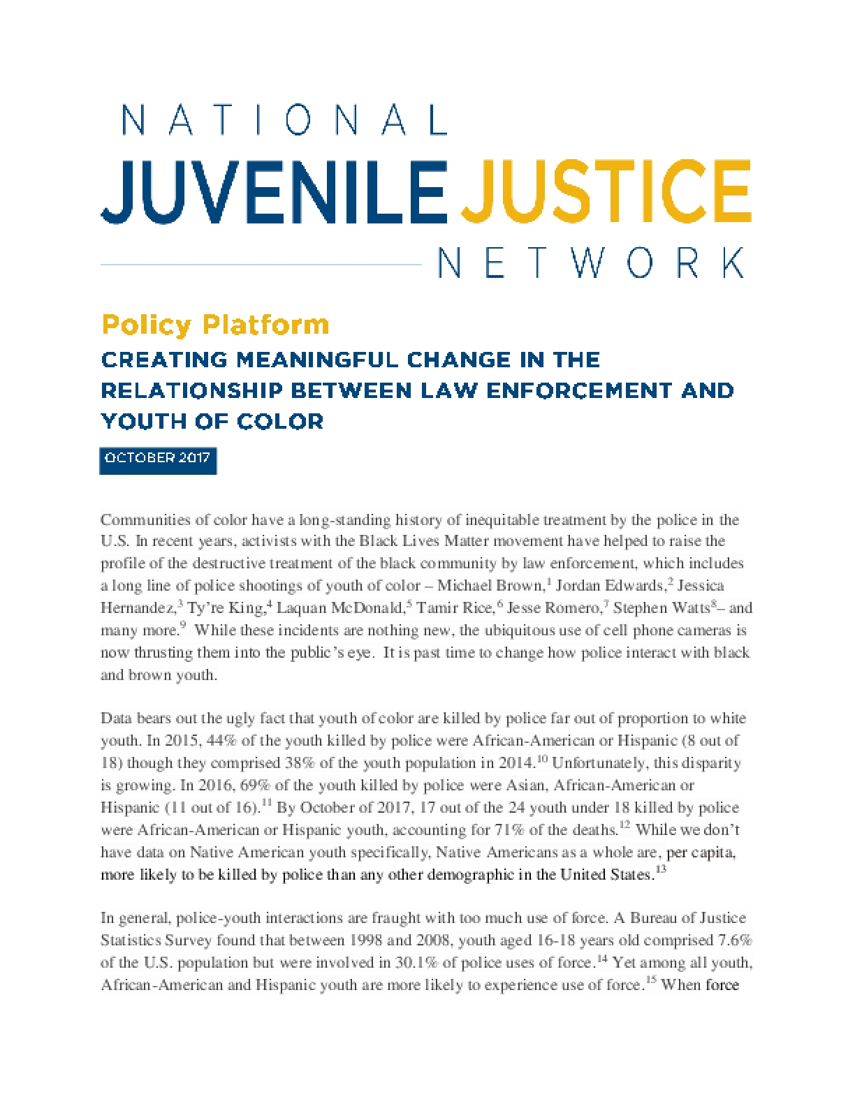 Creating Meaningful Change in the Relationship Between Law Enforcement and Youth of Color