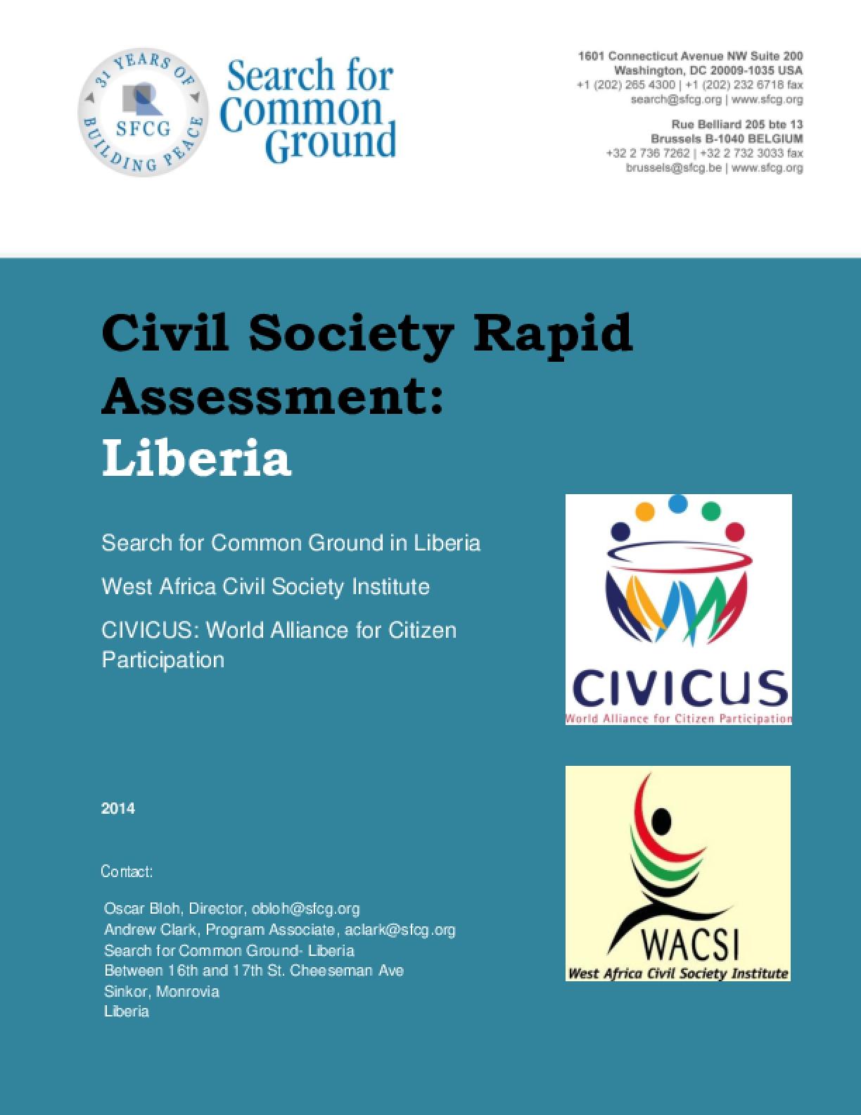 Civil Society Rapid Assessment: Liberia