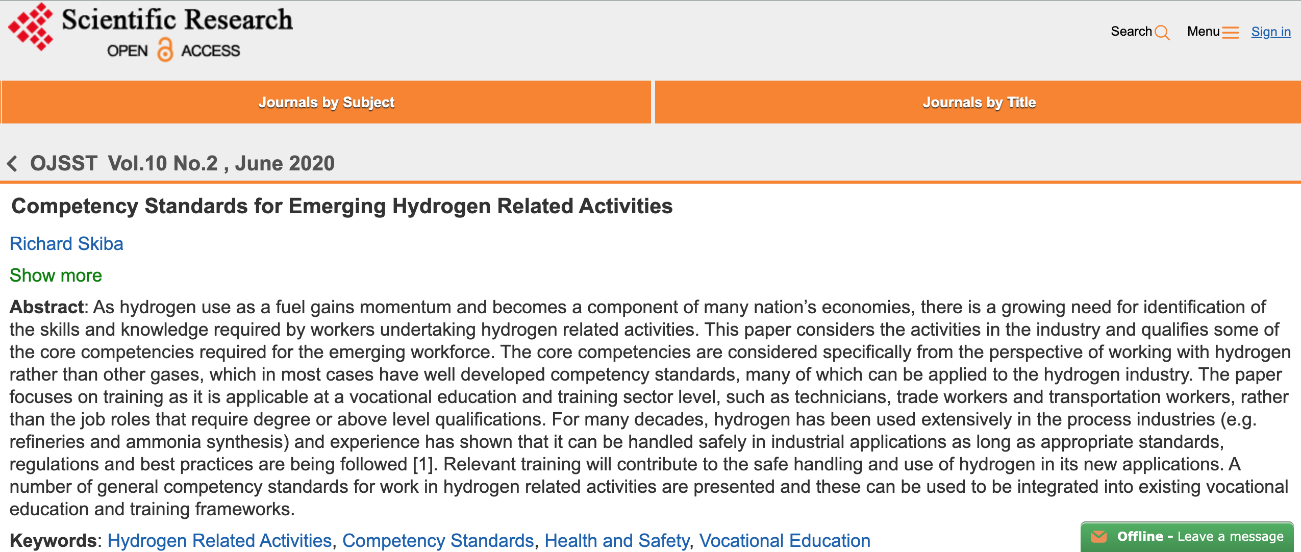 Competency Standards for Emerging Hydrogen Related Activities
