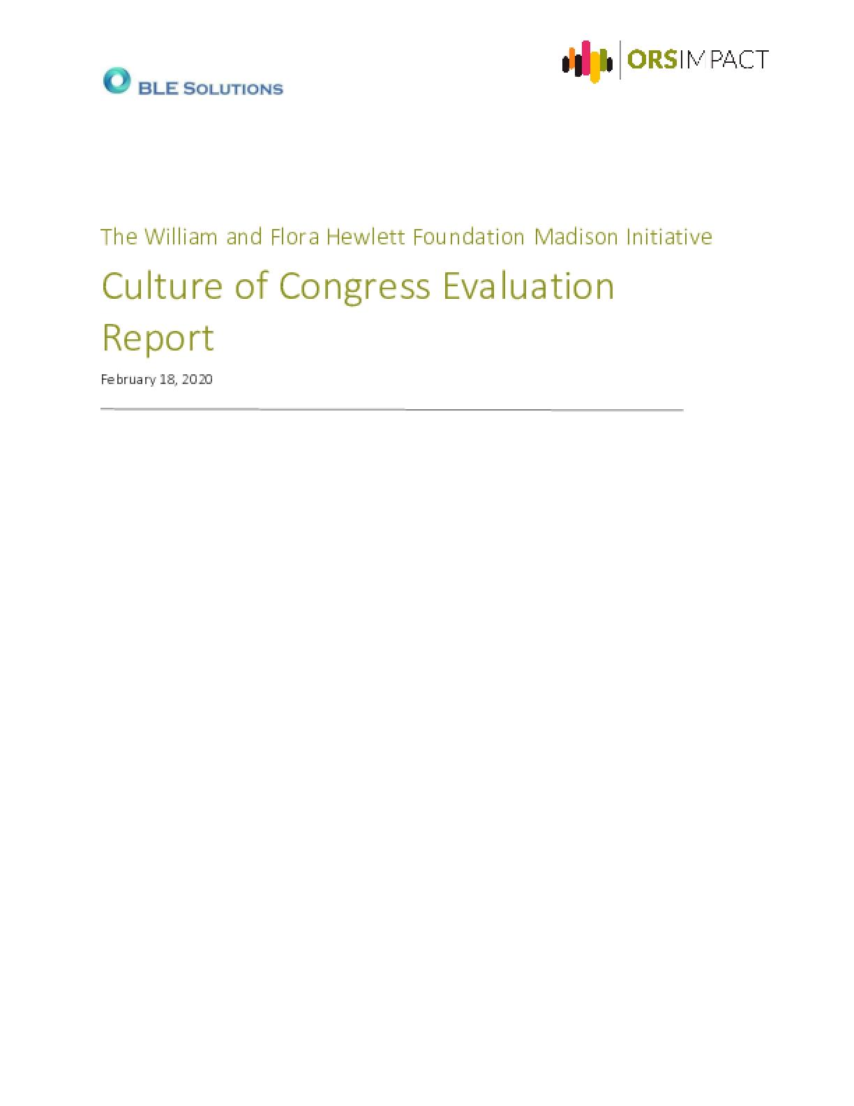 Culture of Congress Evaluation Report