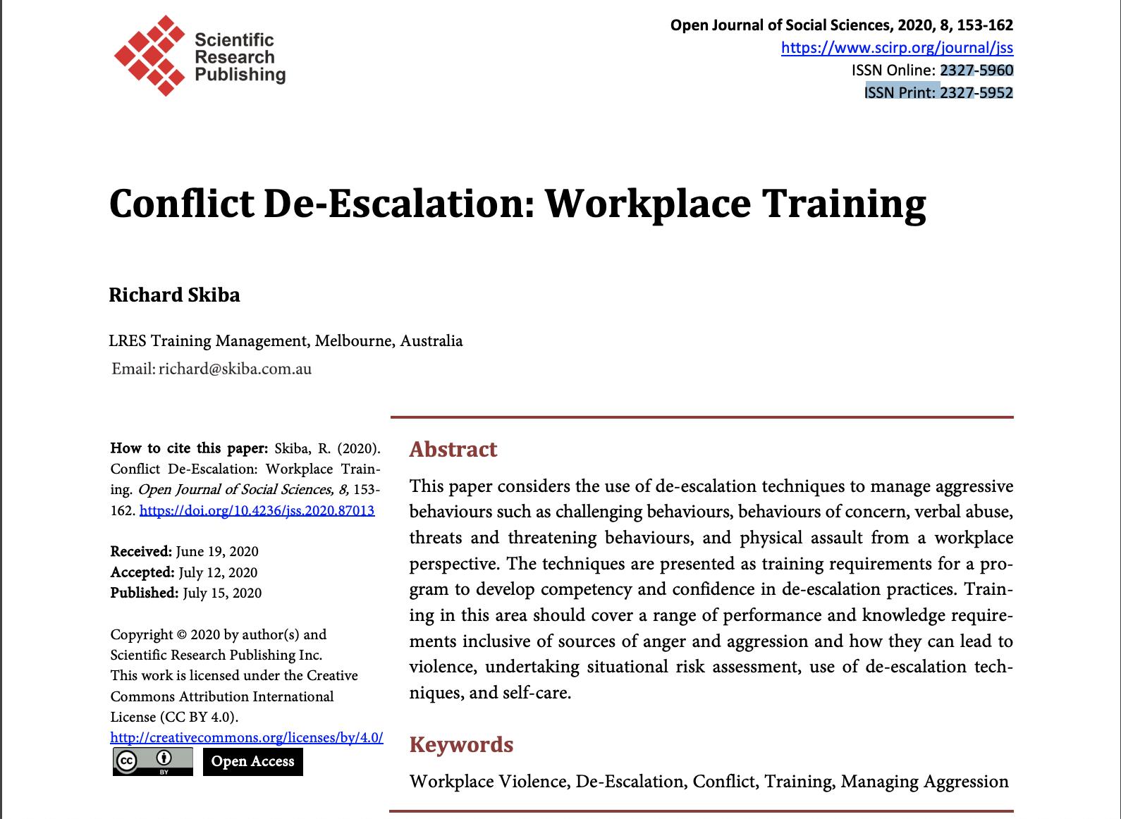 Conflict De-Escalation: Workplace Training