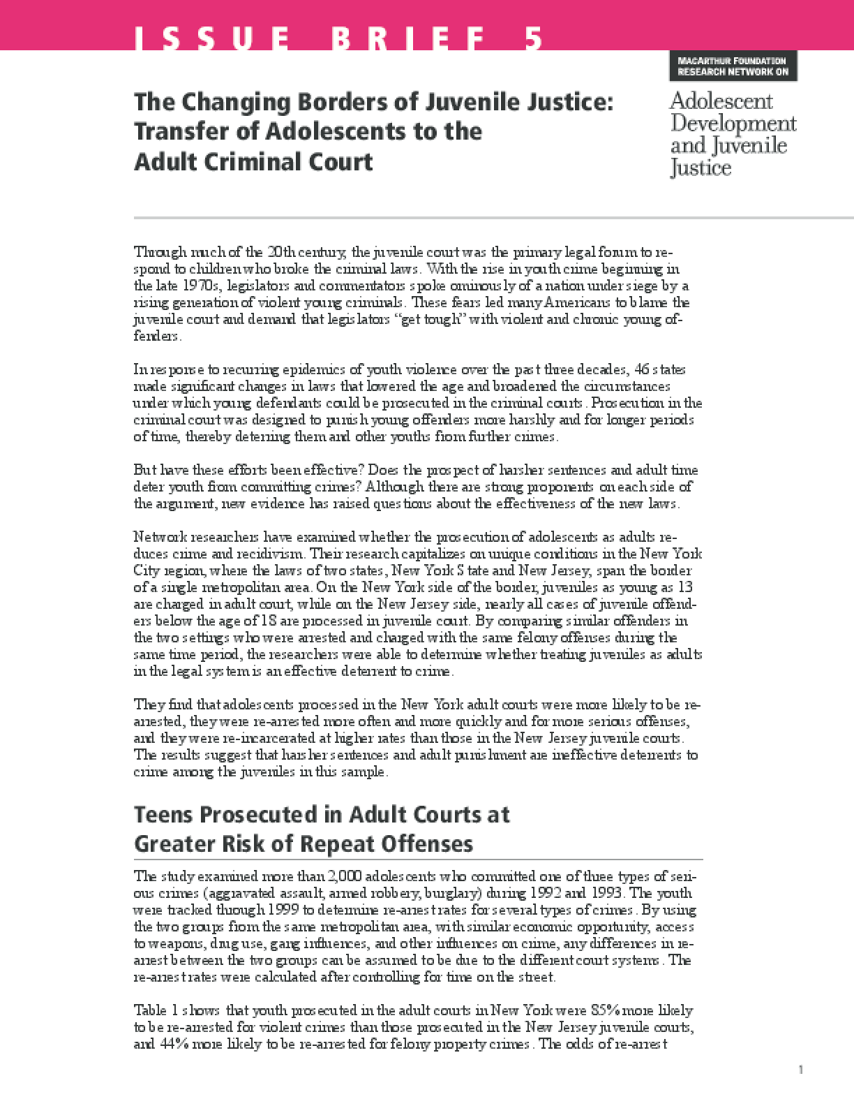 The Changing Borders of Juvenile Justice: Transfer of Adolescents to the Adult Criminal Court