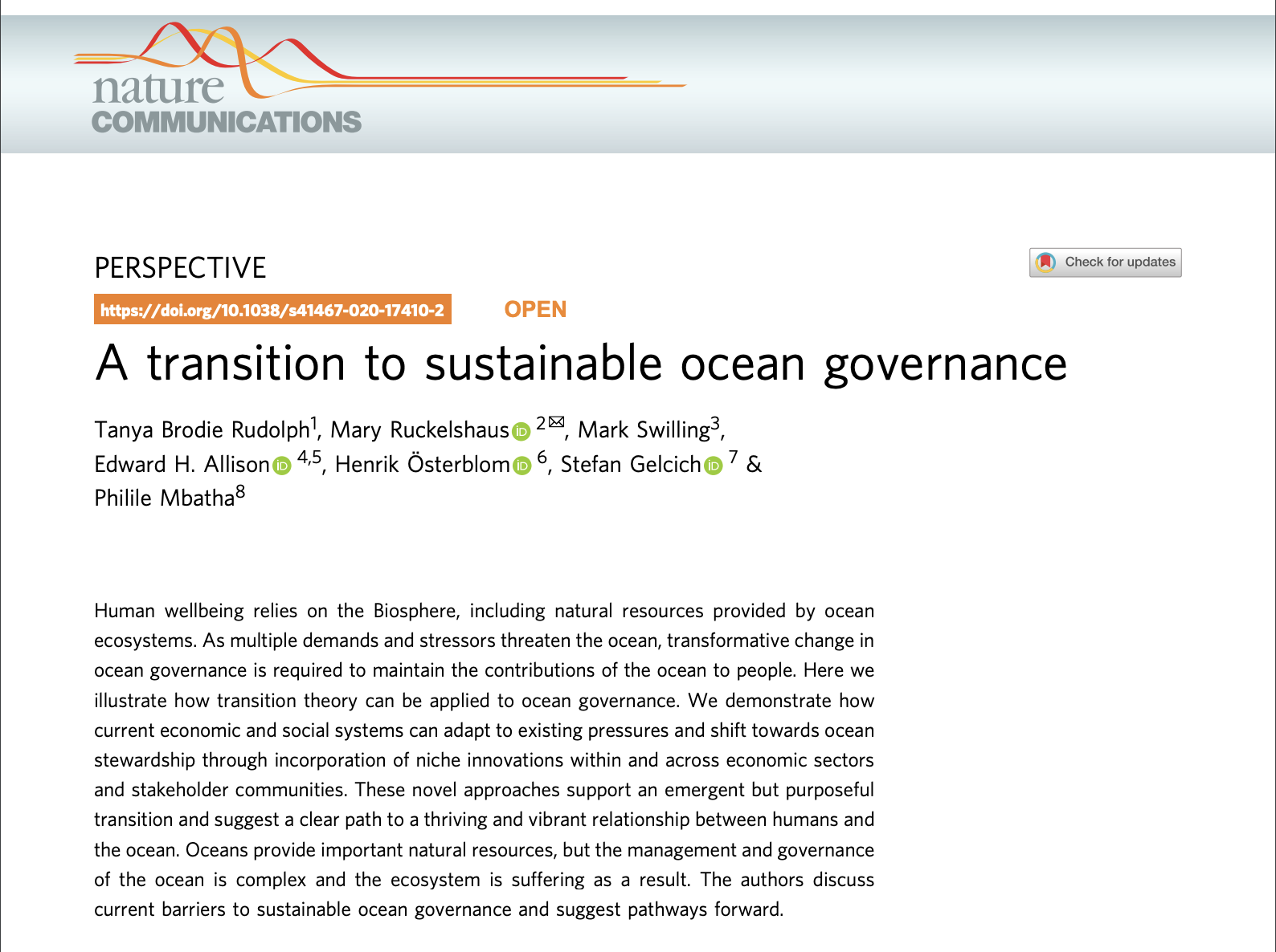 A Transition To Sustainable Ocean Governance