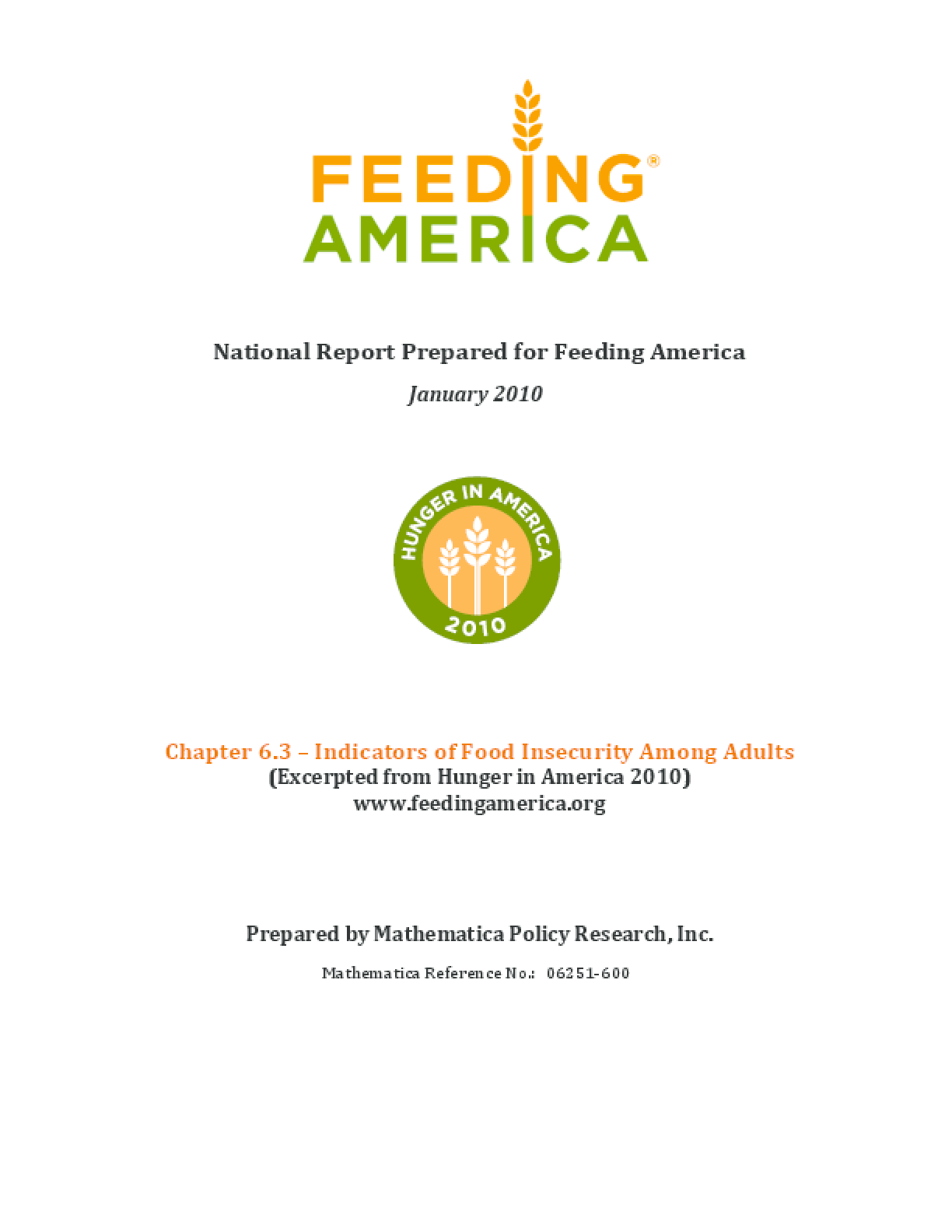 Indicators of Food Insecurity Among Adult Feeding America Clients