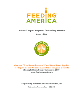 Reasons Why Feeding America Clients Never Applied for Supplemental Nutrition Assistance Program Benefits
