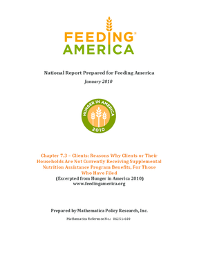 Reasons Why Feeding America Clients Who Filed for Supplemental Nutrition Assistance Program Benefits Are Not Currently Receiving Them