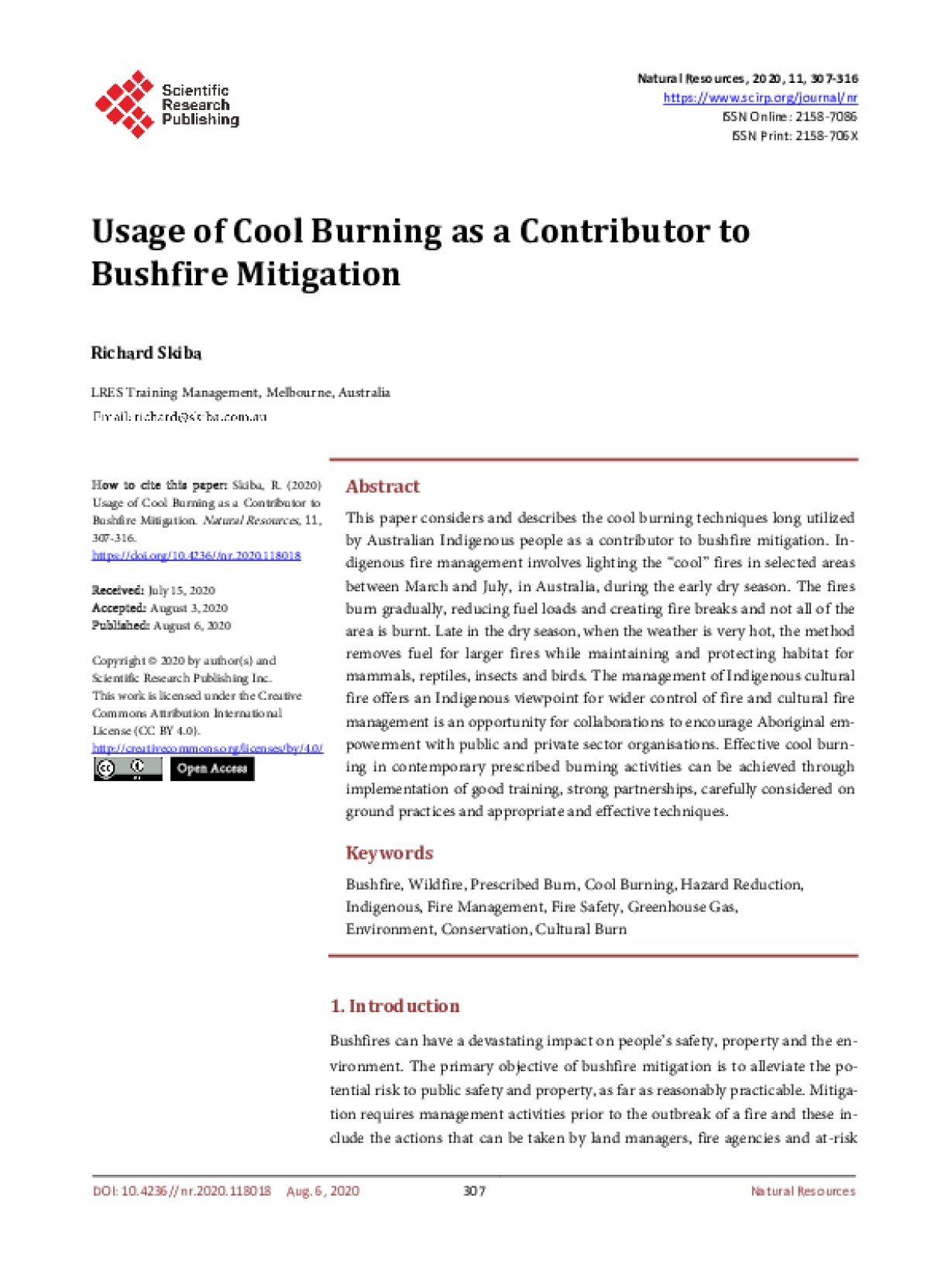 Usage of Cool Burning as a Contributor to Bushfire Mitigation
