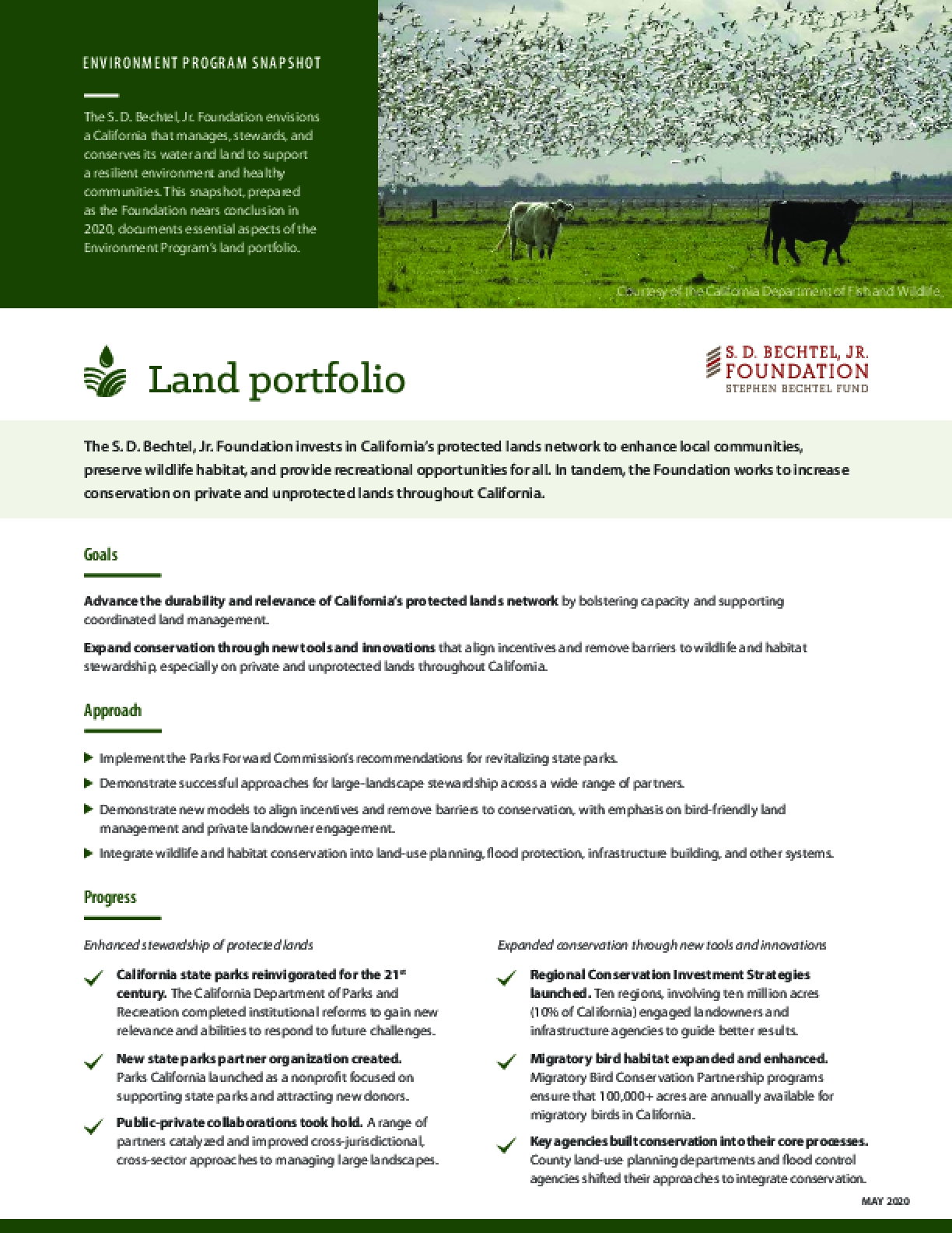 Environment Program Snapshot: Land Portfolio