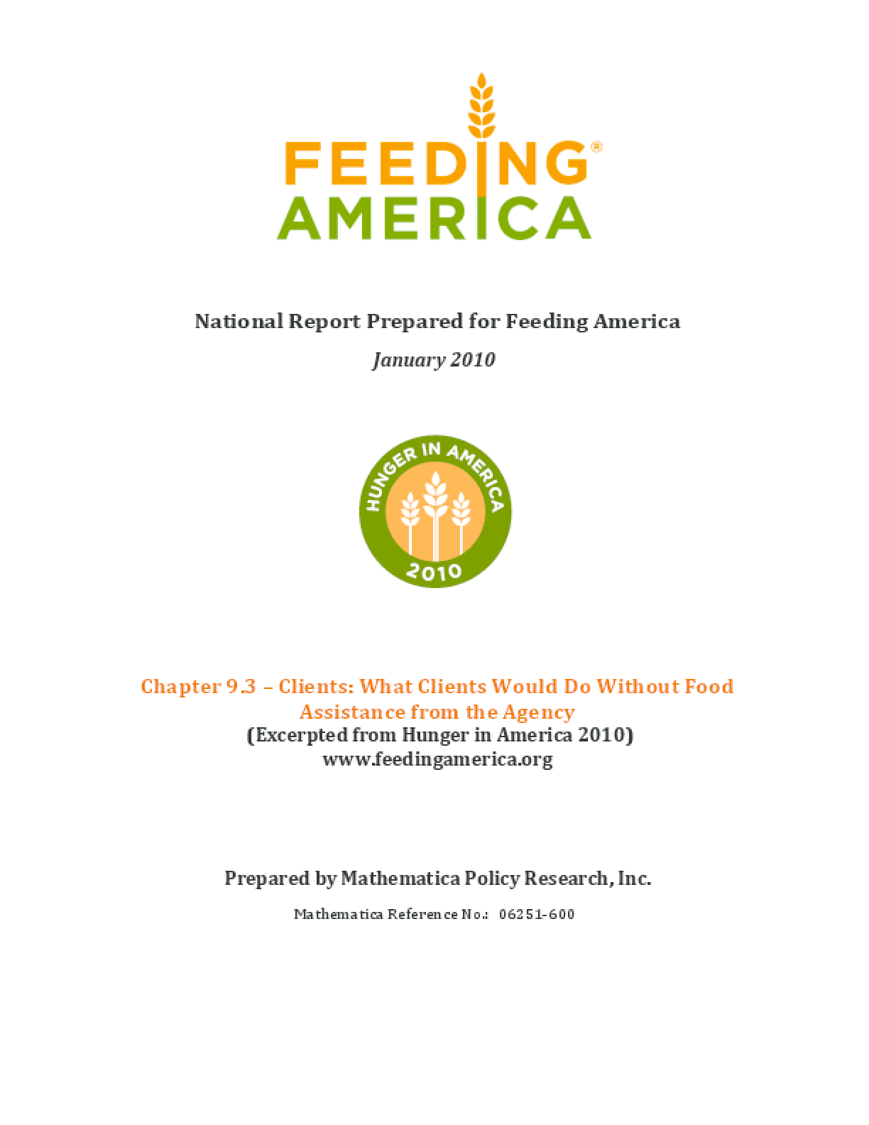 What Feeding America Clients Would Do Without Food Assistance from the Agency