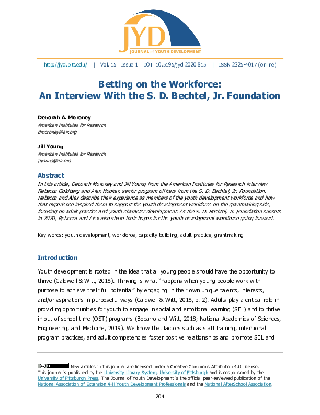 Betting on the Workforce: An Interview With the S. D. Bechtel, Jr. Foundation