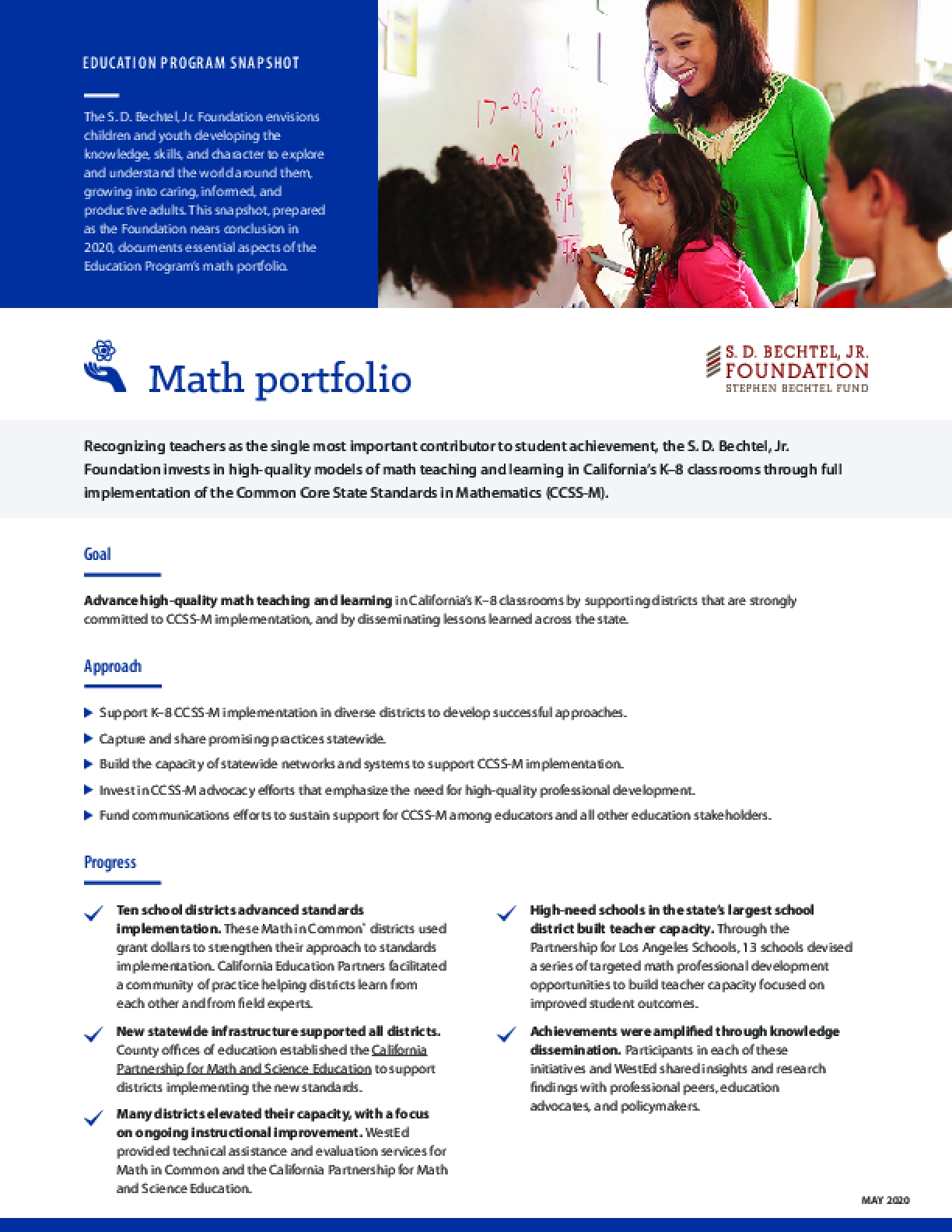 Education Program Snapshot: Math Portfolio