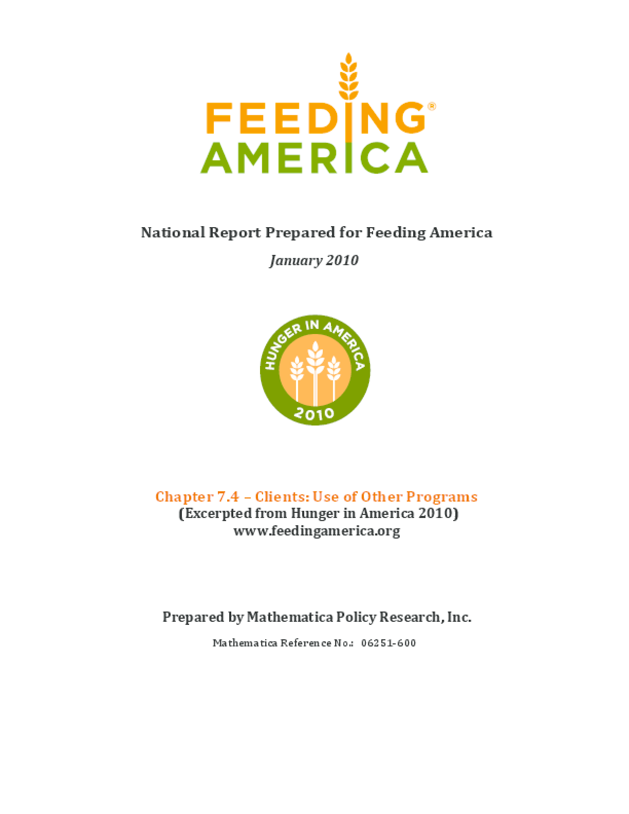 Use of Other Programs By Feeding America Client Households