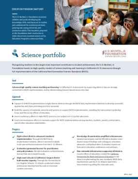 Education Program Snapshot: Science Portfolio