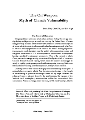The Oil Weapon: Myth of China's Vulnerability