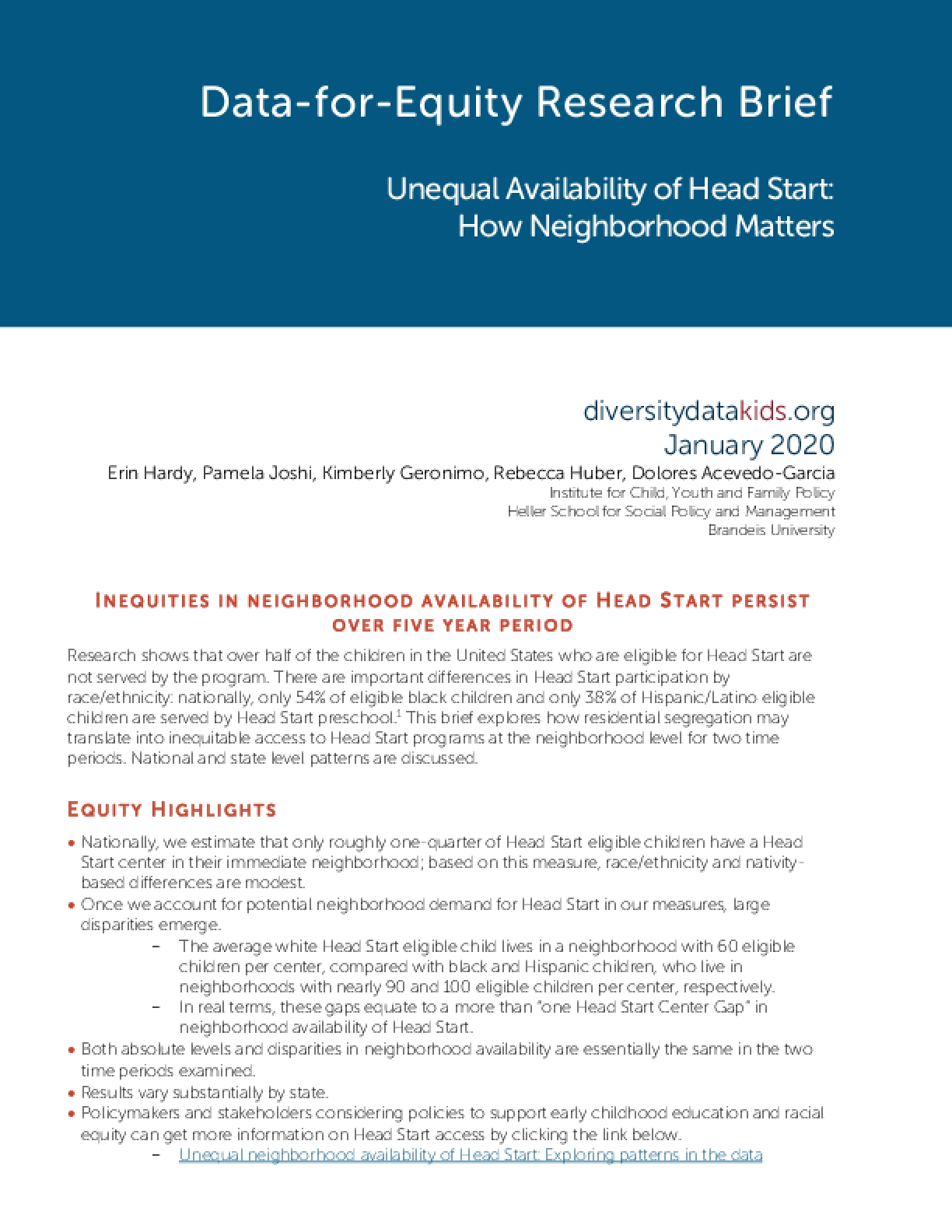 Data-for-Equity Research Brief: Unequal Availability of Head Start, How Neighborhood Matters