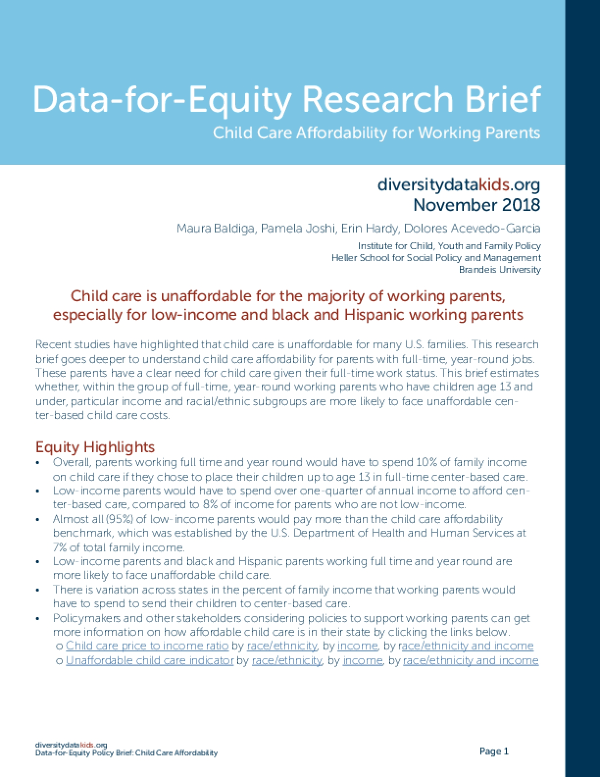 Data-for-Equity Research Brief: Child Care Affordability for Working Parents