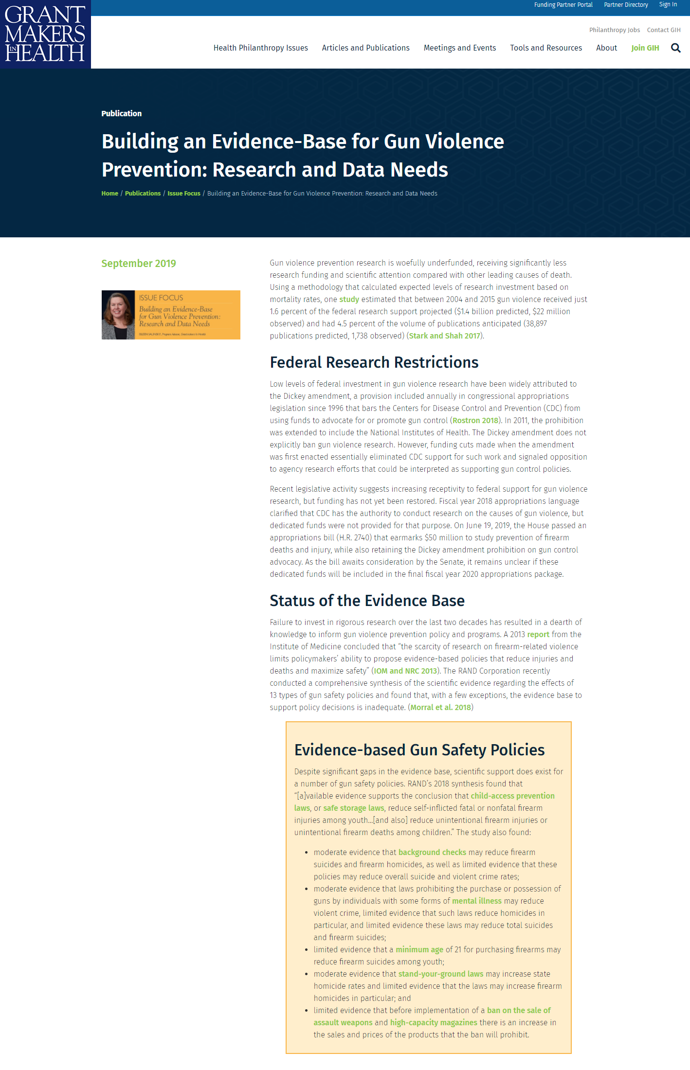 Building an Evidence-Base for Gun Violence Prevention: Research and Data Needs