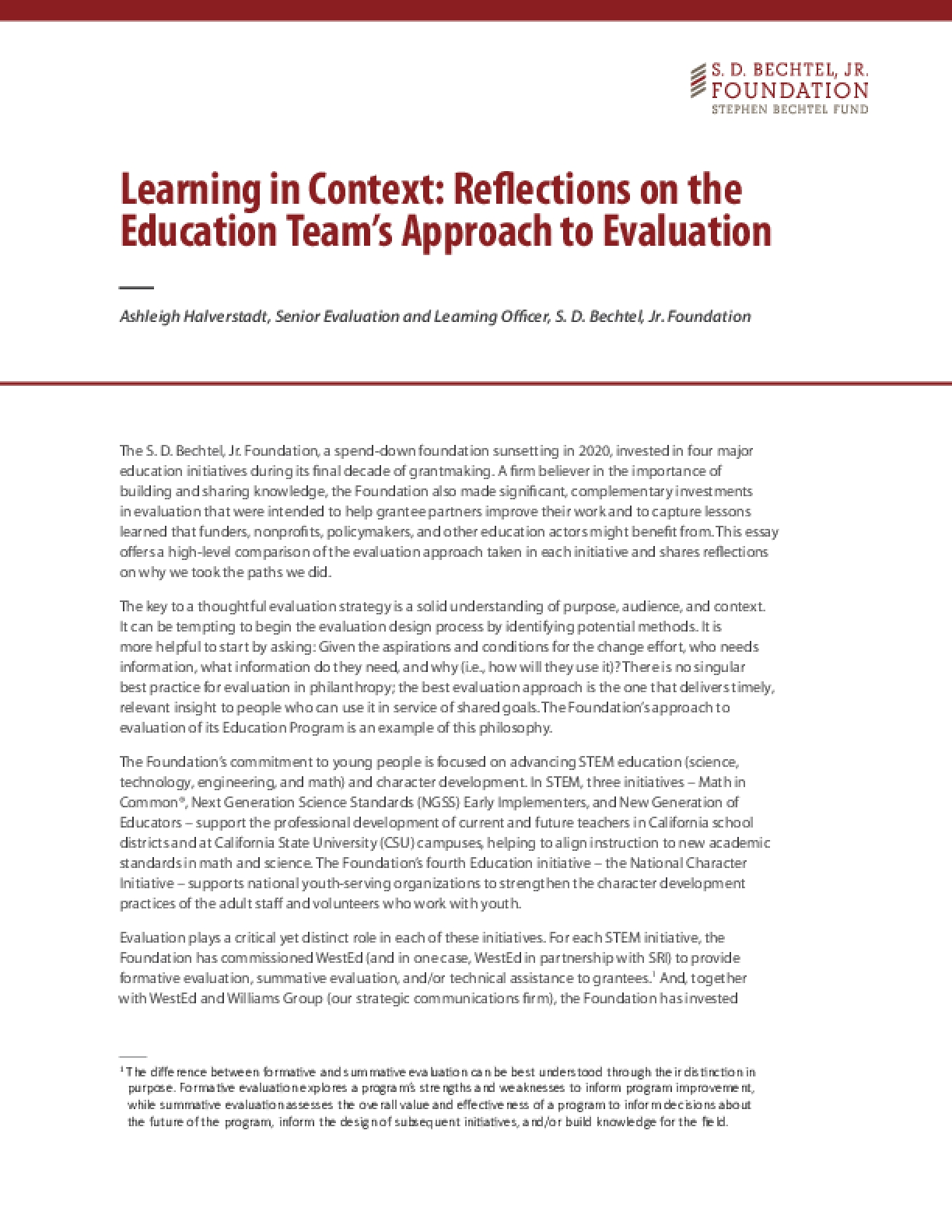 Learning in Context: Reflections on the Education Team's Approach to Evaluation